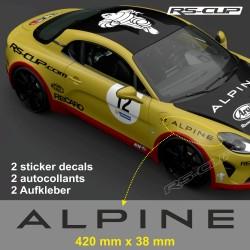 2  Aufkleber ALPINE 42 cm für A110