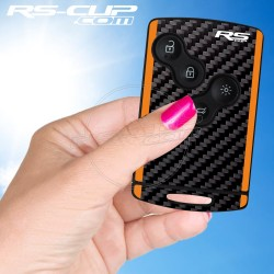 Sticker for 4 buttons Key ALPINE A110 CARBON look and orange stripes