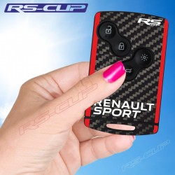 Sticker for 4 buttons Key RENAULT SPORT carbon look and red sides